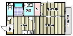 大阪府河内長野市菊水町の賃貸アパートの間取り