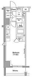 ザ・パークハビオ恵比寿プレイス 4階ワンルームの間取り