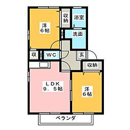 カーサソレイユ A棟[2階]の間取り