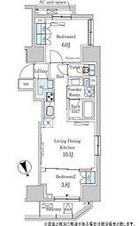 東京メトロ日比谷線 神谷町駅 徒歩8分の賃貸マンション 5階2LDKの間取り