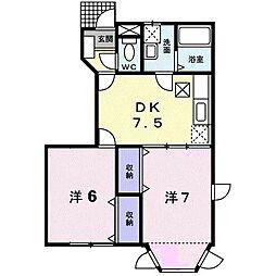 (賃)ドリームパレスB[1階]の間取り