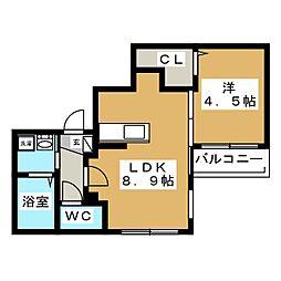 Cala Rossa(カーラロッサ)[4階]の間取り