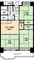 UR大幸東団地103号棟[6階]の間取り