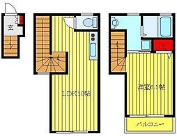サザンクロス板橋 2階1LDKの間取り