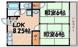 広島県広島市安芸区矢野東3丁目の賃貸アパートの間取り