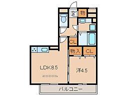 サンライズ湊II[3階]の間取り
