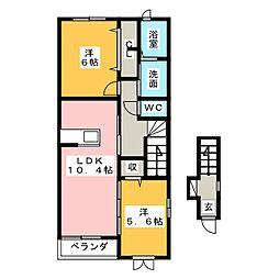 ラソ・ヒメーノII[2階]の間取り