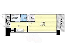 Osaka Metro谷町線 平野駅 徒歩1分の賃貸マンション 2階1Kの間取り