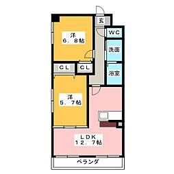 愛知県弥富市平島東2丁目の賃貸マンションの間取り