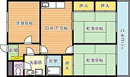 ファミール萩原[5階]の間取り