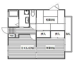 大阪府高槻市城西町の賃貸アパートの間取り