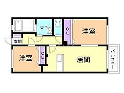 ミ・ピアーチェ東札幌 4階2LDKの間取り