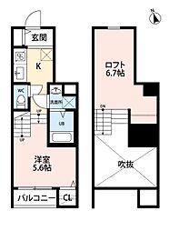 JR鹿児島本線 香椎駅 徒歩5分の賃貸アパート 2階1Kの間取り