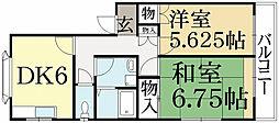 京都府京都市左京区岩倉下在地町の賃貸アパートの間取り