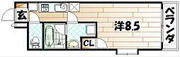 第25エルザビル〜CEREB三萩野〜[6階]の間取り