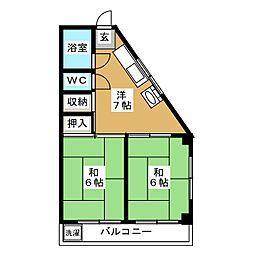 豊川マンション 2階2DKの間取り
