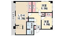 兵庫県伊丹市荒牧2丁目の賃貸マンションの間取り