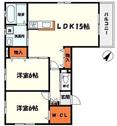 Osaka Metro今里筋線 清水駅 徒歩13分の賃貸アパート 2階2LDKの間取り