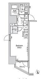 都営三田線 御成門駅 徒歩6分の賃貸マンション 3階ワンルームの間取り