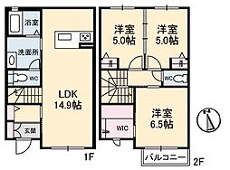 [テラスハウス] 愛媛県松山市上市2丁目 の賃貸【/】の間取り
