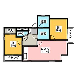 マンション汐見II E棟[2階]の間取り