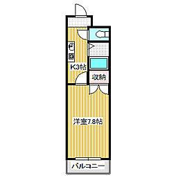 愛知県名古屋市熱田区六番2丁目の賃貸マンションの間取り