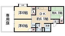 兵庫県伊丹市荻野8丁目の賃貸アパートの間取り