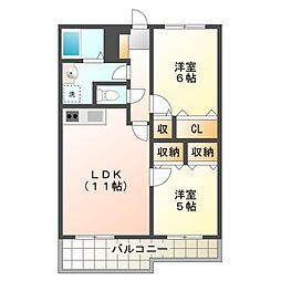 ラボーセジュール小金井[2階]の間取り