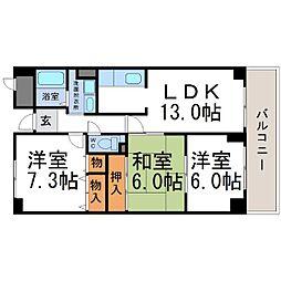 兵庫県尼崎市食満5丁目の賃貸マンションの間取り