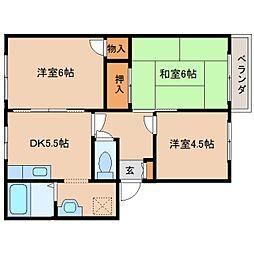 奈良県生駒郡斑鳩町興留3丁目の賃貸アパートの間取り