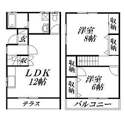 静岡県浜松市東区上西町の賃貸アパートの間取り