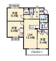 グランマスト高柳A棟[2階]の間取り