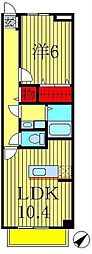 千葉県鎌ケ谷市南初富5丁目の賃貸マンションの間取り