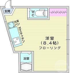 長屋アパートメントHACHI 2階ワンルームの間取り