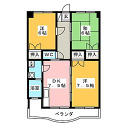 カンパーニュ一宮[3階]の間取り