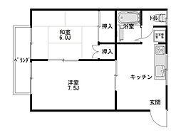ダイセンアパートB[102号室]の間取り
