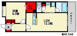 コンフォールB 9階1LDKの間取り