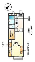 愛知県清須市一場弓町の賃貸アパートの間取り