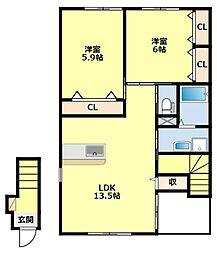 愛知県豊田市上郷町市場の賃貸アパートの間取り