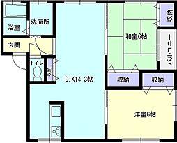 秋田県横手市赤坂字荒沼の賃貸アパートの間取り