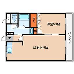 近鉄大阪線 大和朝倉駅 徒歩10分の賃貸マンション 2階1LDKの間取り