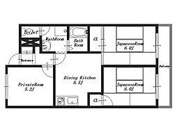 オークマンション[5階]の間取り