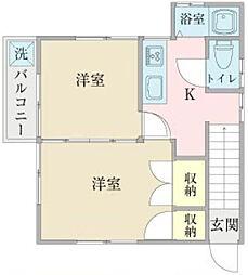 北区赤羽西アパート[2階]の間取り