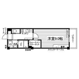 西鉄天神大牟田線 蒲池駅 4.6kmの賃貸マンション 1階1Kの間取り