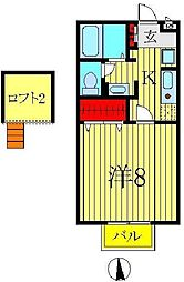 千葉県柏市あけぼの4の賃貸アパートの間取り