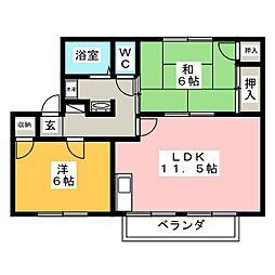 愛知県岡崎市美合西町の賃貸アパートの間取り