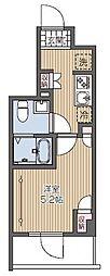西武新宿線 久米川駅 徒歩2分の賃貸マンション 8階1Kの間取り