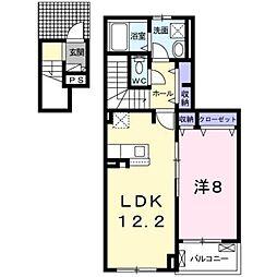 北九州都市モノレール小倉線 徳力嵐山口駅 徒歩16分の賃貸アパート 2階1LDKの間取り