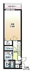 Osaka Metro今里筋線 瑞光四丁目駅 徒歩3分の賃貸アパート 3階1Kの間取り