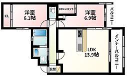 Osaka Metro御堂筋線 東三国駅 徒歩7分の賃貸マンション 2階2LDKの間取り